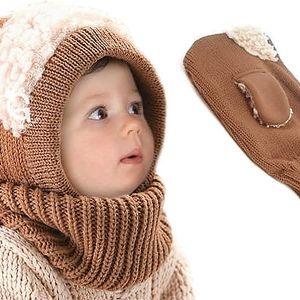 Hřejivá pletená kukla s kožíškem a veselými oušky pro děti