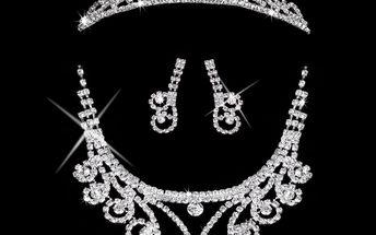 Fashion Icon Štrasová sada Princess náhrdelník, náušnice a korunka