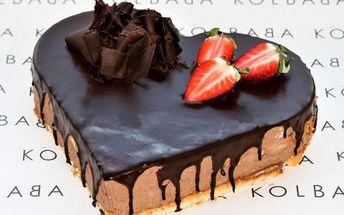 Valentýnský čokoládový dort z brněnské Kolbaby