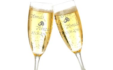 Sklenice na víno či sekt nebo skleněný korbel s jednostranným pískováním dle přání