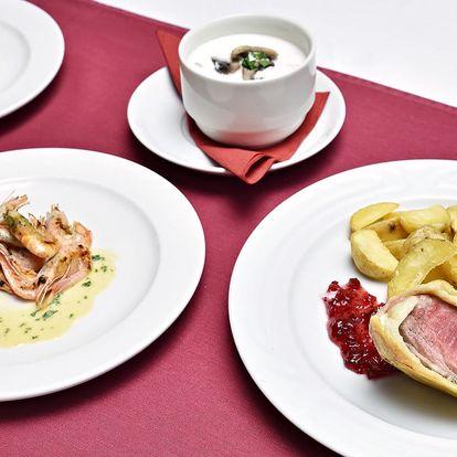 4chodové menu pro dva: růžové krevety i panenka