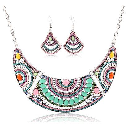Fashion Icon Sada etno náušnice a náhrdelník placatý