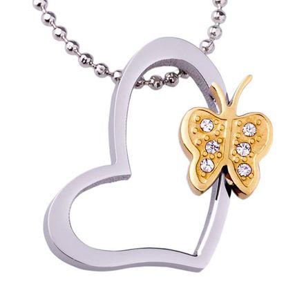 Fashion Icon Přívěsek chirurgická ocel srdce a motýl