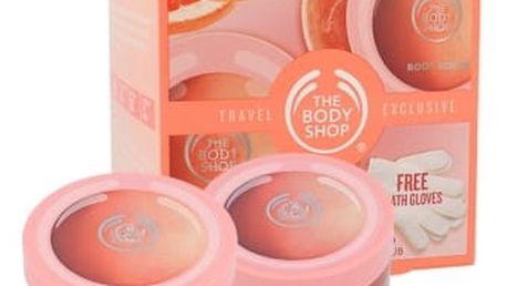 The Body Shop Pink Grapefruit dárková kazeta pro ženy tělové máslo 200 ml + tělový peeling 200 ml + rukavice