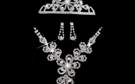 Fashion Icon Štrasová sada Flowers náhrdelník, náušnice a korunka