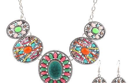 Fashion Icon Sada etno náušnice a náhrdelník ovál