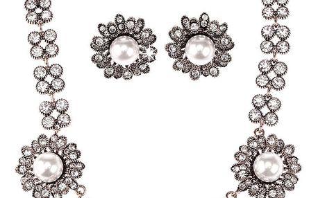 Fashion Icon Sada náhrdelník a náušnice sedmikráska s perlou