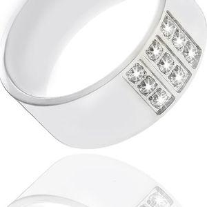 Fashion Icon Prsten chirurgická ocel čtverec z krystalků