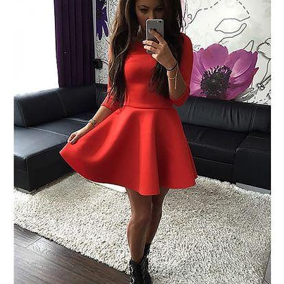 Dámské jednobarevné šaty s delšími rukávy - 3 barvy