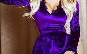 Sametové šaty s krajkou Camilla