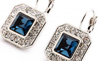 Dámské náušnice s modrým kamínkem - hranaté provedení