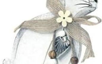 Krásná dekorace zajíc pro váš interiér, zajíc na podstavci.