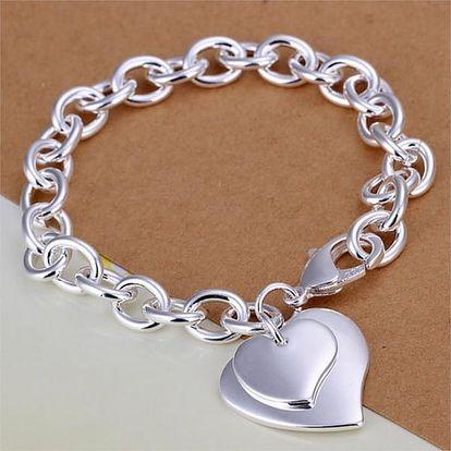 Dámský náramek se srdci ve stříbrné barvě - dodání do 2 dnů