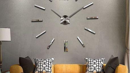 3D nalepovací hodiny Time stříbrné
