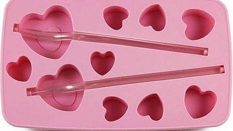 Zamilovaná forma na led s brčky Srdce