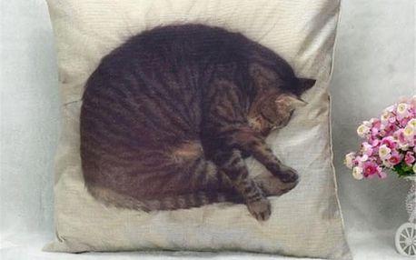 Povlak na polštář se spící kočičkou - dodání do 2 dnů