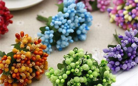 Dekorativní květina do věnců nebo svatebních kytic - 12 ks