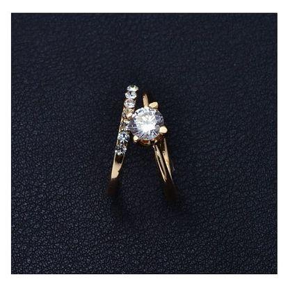 Prsten ve zlaté barvě s kamínky - 2 ks