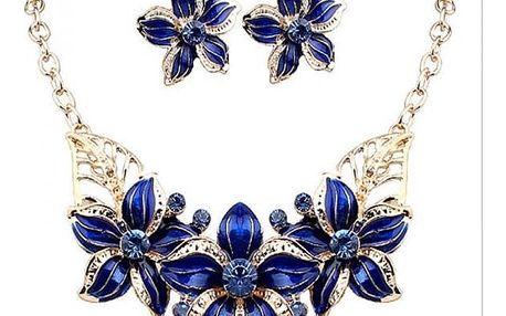 Dámský elegantní náhrdelník s náušnicemi v květinovém vzoru - 4 barvy