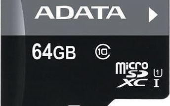 ADATA Micro SDXC Premier 64GB UHS-I + adaptér - AUSDX64GUICL10-RA1