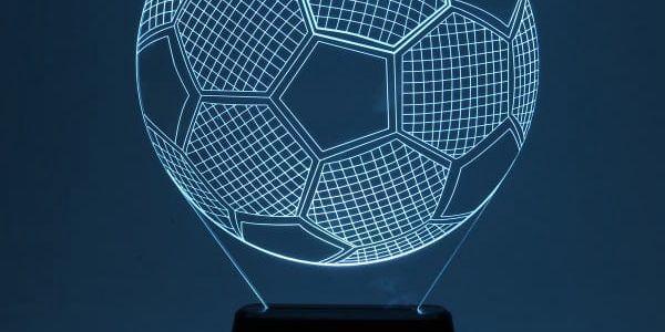 3D stolní lampa ve tvaru fotbalového míče - dodání do 2 dnů