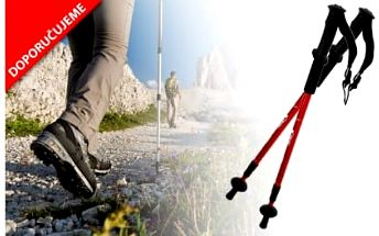 Pár trekingových holí s kompasem za 189 Kč! Teleskopické hole s odpružením šetří vaše klouby a zajistí správné držení těla při sportu!