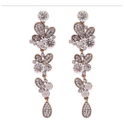 Fashion Icon Náušnice masivní dlouhé motýlek a krystaly