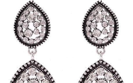 Fashion Icon Náušnice masivní visací kapky s krystaly