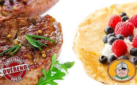 Romantická 3chodová večeře s vínem či sektem ve Švejk Restaurantu Strašnice v Praze