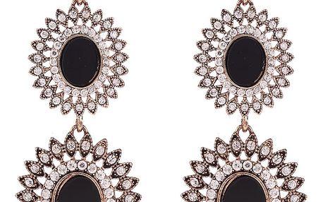 Fashion Icon Náušnice tribal visací ovály s krystalky