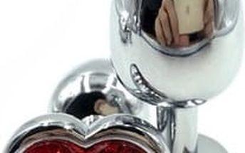 kovový anální kolík s srdíčkovým krystalem malý