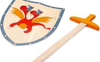SCRATCH Dřevěný meč a štít Červený drak