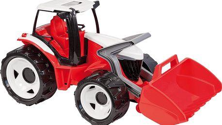 LENA Traktor se lžící, červenobílý