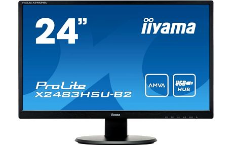 Iiyama Monitor X2483HSU-B2 24inch, IPS, Full HD, AMVA+, DVI, HDMI, USB, Speakers