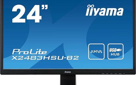 Iiyama Monitor X2483HSU-B2 24inch, IPS, Full HD, AMVA+, DVI, HDMI, USB, Speakers