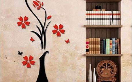 3D samolepka na zeď Váza s květy - malá