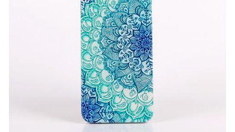 Kryt pro iPhone s motivem orientální růže v modré barvě