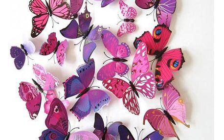 12 samolepících 3D motýlků na zeď - různé barvy