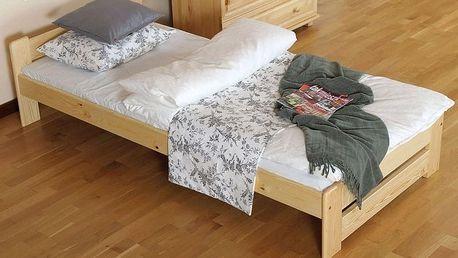 Dřevěná postel z borovicového masivu včetně roštu a zdravotní matrace - 2 barvy, 5 rozměrů