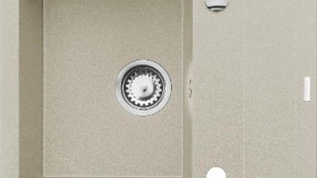 Granitový kuchyňský dřez Pyramis STUDIO 59x48 1B 1D, béžová