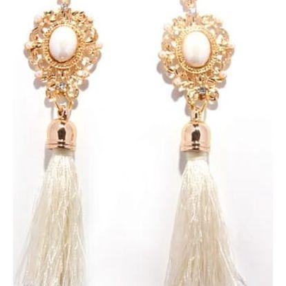 Retro náušnice s třásněmi a bílou perličkou - více barev