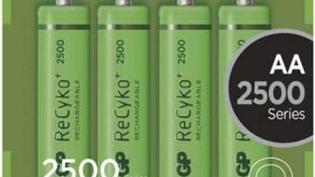 Baterie nabíjecí GP AA, HR6, 2450mAh, Ni-MH, krabička 4ks (1032214113) zelená