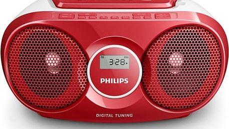Radiopřijímač s CD Philips AZ215R červený