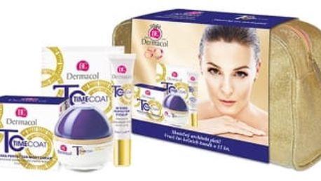 Dermacol Time Coat Intense Perfector SPF 20 dárková kazeta pro ženy denní pleťový krém SPF20 50 ml + zdokonalující krém na oči a rty 15 ml + zdokonalující pleťová maska 2x 8g + taška