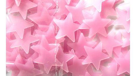 Sada svítících 3D hvězdiček na zeď v modré nebo růžové barvě - 100 ks