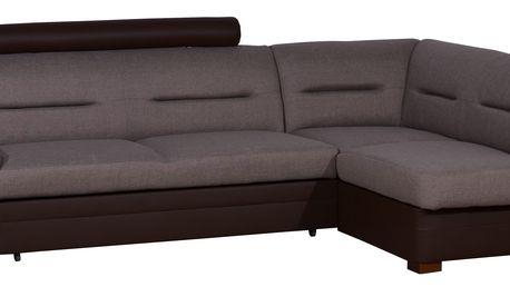 Rohová sedačka TOLEDO se záhlavníkem, pravá, látka hnědá/hnědá ekokůže