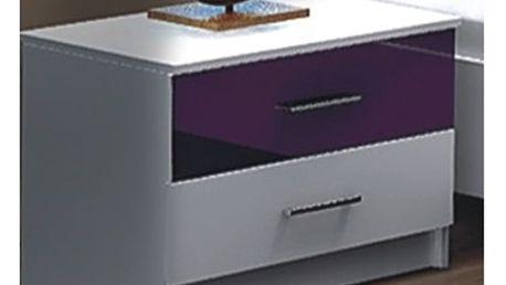 DUBAJ, noční stolek, bílá/fialové sklo