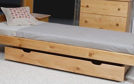 Úložný prostor pod postel 150 cm, masiv borovice/moření olše DOPRODEJ