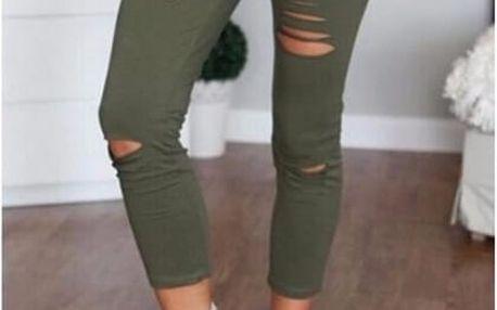 Dámské skinny kalhoty s dírami Ida