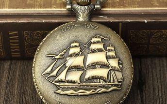 Retro kapesní hodinky s motivem lodi - dodání do 2 dnů